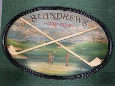 A VINTAGE PAINTED ST ANDREW'S GOLF CLUB SIGN WITH WOODEN FRAME (90X60CM)
