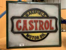AN ILLUMINATED 'CASTROL' SIGN