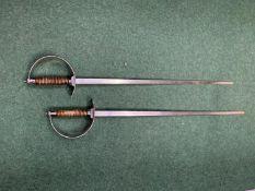 A PAIR OF DECORATIVE STEEL SPANISH SWORDS