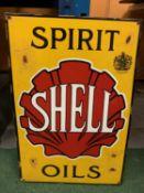 A LARGE SHELL 'SPIRIT OILS' ENAMEL SIGN 60CM X 40CM