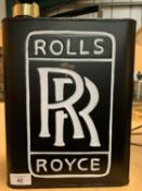 A ROLLS ROYCE FUEL CAN WITH BRASS LID