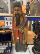 A LARGE CARVED AND HANDPAINTED FIGURE OF A JAPANESE CLERIC (H:90CM)