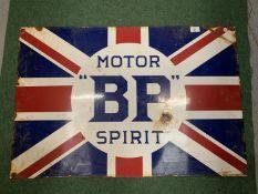 "A LARGE VINTAGE STYLE UNION JACK 'MOTOR ""BP""' METAL SIGN 90X60CM"
