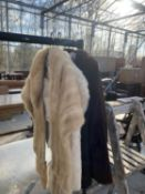THREE ITEMS OF LADIES FAUX FUR CLOTHING TO INCLUDE JACKETS AND STOLE ETC