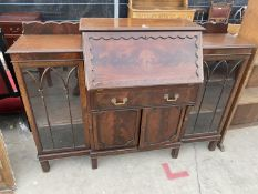 """AN EDWARDIAN MAHOGANY SIDE BY SIDE BUREAU WITH FITTED INTERIOR, 60"""" WIDE"""