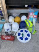 AN ASSORTMENT OF HEALTH AND SAFETY ITEMS TO INCLUDE HI VIZ JACKETS AND HARD HATS ETC