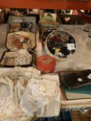 A LARGE QUANTITY OF SEWING PARAPHERNALIA TO INCLUDE LACE ITEMS