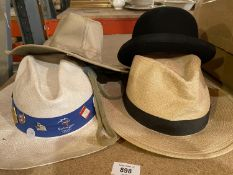 FOUR VARIOUS GENTLEMEN'S HATS TO INCLUDE A BOWLER AND A PANAMA DATING FROM THE SYDNEY OLYMPIC