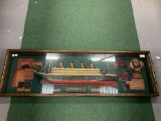 A CASED MODEL OF OF 'THE TITANIC' WALL MOUNTED 106X34CM APPROX