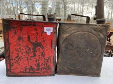 TWO VINTAGE FUEL CANS TO INCLUDE A SHELL AND AN ESSO