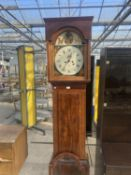 A 19TH CENTURY MAHOGANY AND INLAID EIGHT DAY LONGCASE CLOCK WITH ENAMEL DIAL DEPICTING BRITANNIA