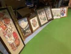 A QUANTITY OF FRAMED TAPESTRIES