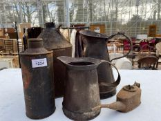 AN ASSORTMENT OF VINTAGE OIL CANS TO INCLUDE A 'MORRIS MOTORS LIMITED'