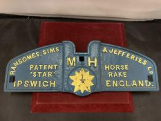 A CAST METAL SIGN ' RANSOME SIMS AND JEFFRIES' 14X40CM