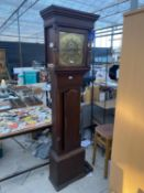 A 19TH CENTURY OAK AND CROSSBANDED BRASS FACED LONGCASE CLOCK (BRANDRETH, MIDDLEWICH)