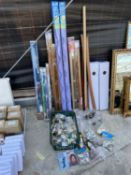 AN ASSORTMENT OF HARDWARE ITEMS INCLUDE, WINDOW BLINDS, AND HOUSE NUMBERS ETC