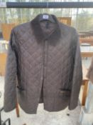 A LARGE MENS BROWN QUILTED BARBOUR JACKET IN VERY GOOD CONDITION