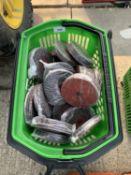 A BASKET OF 200 FIVE INCH GRINDING DISCS - NO VAT