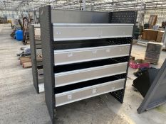 """A QUANTITY OF SHELVES WITH DROP DOWN FRONTS - 5'3"""" HIGH 25"""" DEEP 4'3"""" WIDE - NO VAT"""