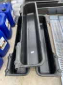 3 X 4' BLACK PLASTIC HANGING TROUGHS 4' LONG TO BE SOLD AS ONE LOT +VAT