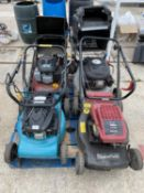 FOUR LAWN MOWERS - A MOUNTFIELD WITH 4.5 HONDA ENGINE, A MOUNTFIELD HP470 WITH B & S ENGINE A WOLF