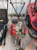 A MOUNTFIELD MS SINGLE SPEED ROTOVATOR WITH 5 HP ENGINE IN GOOD WORKING ORDER NO WARRANTY - NO VAT