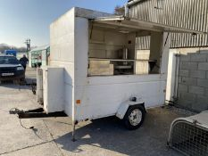 """A CATERING TRAILER WITH LIFT UP SIDE. 8'3"""" LONG, 6' WIDE, DRAW BAR 3'3"""" LONG TOTAL LENGTH 11'6"""" WITH"""