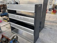 """A QUANTITY OF SHELVES WITH DROP DOWN FRONTS - 53"""" HIGH 51"""" WIDE 18"""" DEEP - NO VAT"""