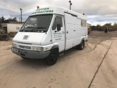 1997 RENAULT FN60 F7 VAN WITH OIL COLLECTION TANKS WITH ASSOCIATED PIPE WORK AND FRONT WORKSHOP.