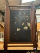 A CHINESE EBONISED SHINWARA SCREEN WITH MOTHER OF PEARL DECORATION