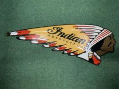 A LONG 'INDIAN MOTORCYCLE' METAL GARAGE SIGN APPROXIMATELY 52CM