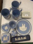 AN ASSORTMENT OF WEDGWOOD JASPER WARE TO INCLUDE AN EMBOSSED QUEENS WARE LIDDED TRINKET BOX