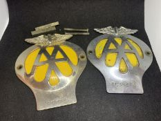 TWO AA CAR BADGES