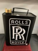 A ROLLS ROYCE METAL FUEL CAN WITH BRASS LID