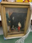 A VERY LARGE MOROCCAN OIL ON CANVAS IN A DEEP GILT FRAME 112 X 86 CM APPROXIMATELY