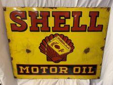 A LARGE METAL ENAMEL 'SHELL MOTOR OIL' SIGN 90CM X 70CM