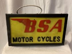 AN ILLUMINATED 'BSA MOTOR CYCLES ' SIGN
