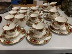 A SELECTION OF ROYAL ALBERT OLD COUNTRY ROSES TEA WARE TO INCLUDE SIX TRIOS, SIX COFFEE MUGS,