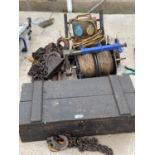 A TOW CHAIN, WOODEN TOOL CHEST ETC - N0 VAT
