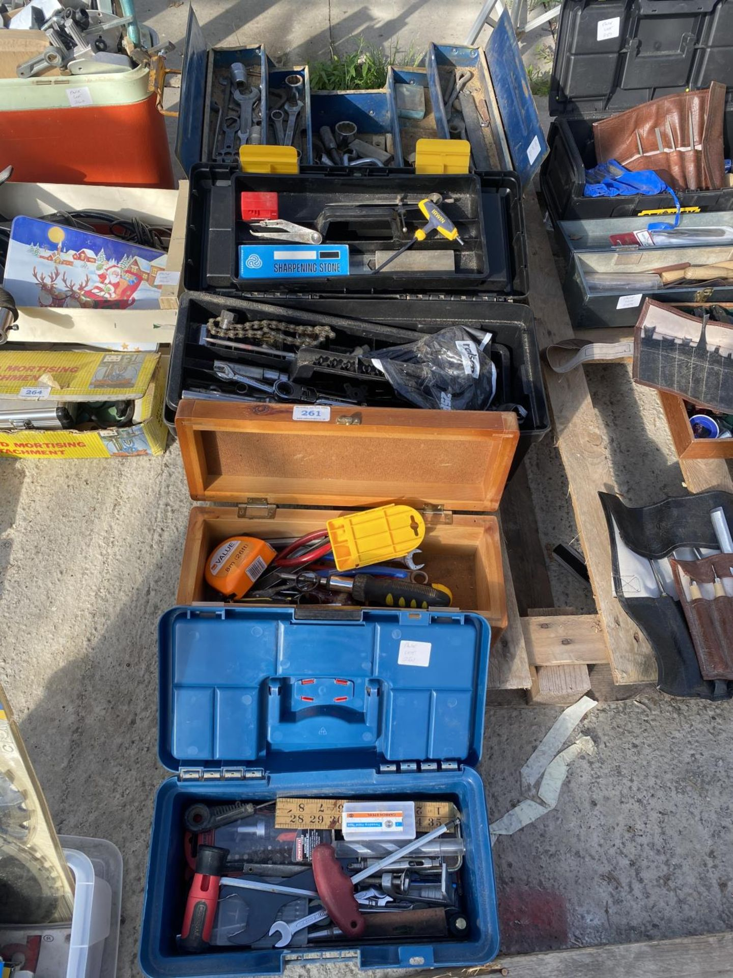 FOUR TOOL BOXES AND CONTENTS TO INCLUDE SPANNERS, SOCKETS, ALLUN KEYS ETC - NO VAT