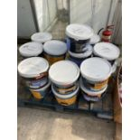 A PALLET CONTAINING TWENTY BELIEVED UNOPENED DRUMS OF MASONARY & MATT PAINT AND PLUMBING SPARES NO