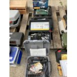 FOUR POWER TOOLS IN CASES TO INCLUDE DREMEL SANDER, PROXXON MICROMOT DRILL, PARKSIDE DRILL, WORKZONE