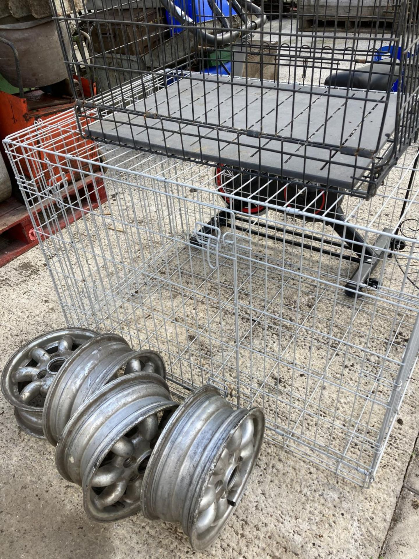 FOUR ALLOY WHEELS, TWO DOG CRATES AND A SPIN BIKE NO VAT - Image 3 of 3
