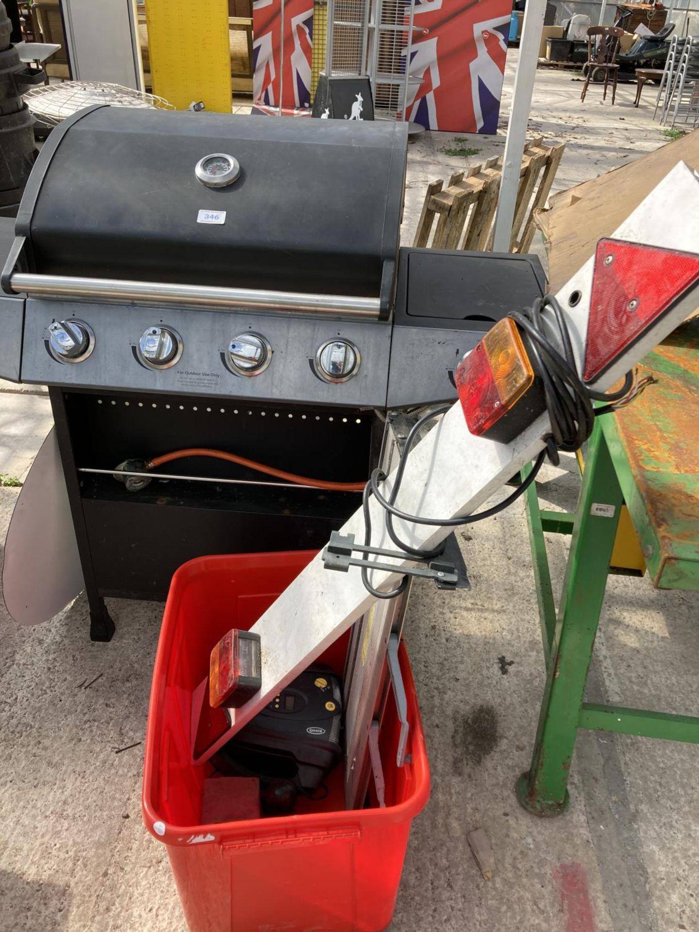 A GAS BBQ, LIGHTBOARD ETC NO VAT