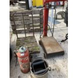 A SET OF AVERY PLATFORM SCALES, THREE WHEELED TROLLEY AND A MOP BUCKET NO VAT