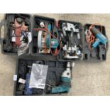 SIX ITEMS OF POWER TOOLS TO INCLUDE THREE BLACK AND DECKER DRILLS, SANDER ETC NO VAT
