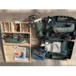 FOUR BOSCH ITEMS TO INCLUDE A CASED MULTI TOOL, BOXED CARVING PRIMER, JIGSAW AND ROUTER NO VAT