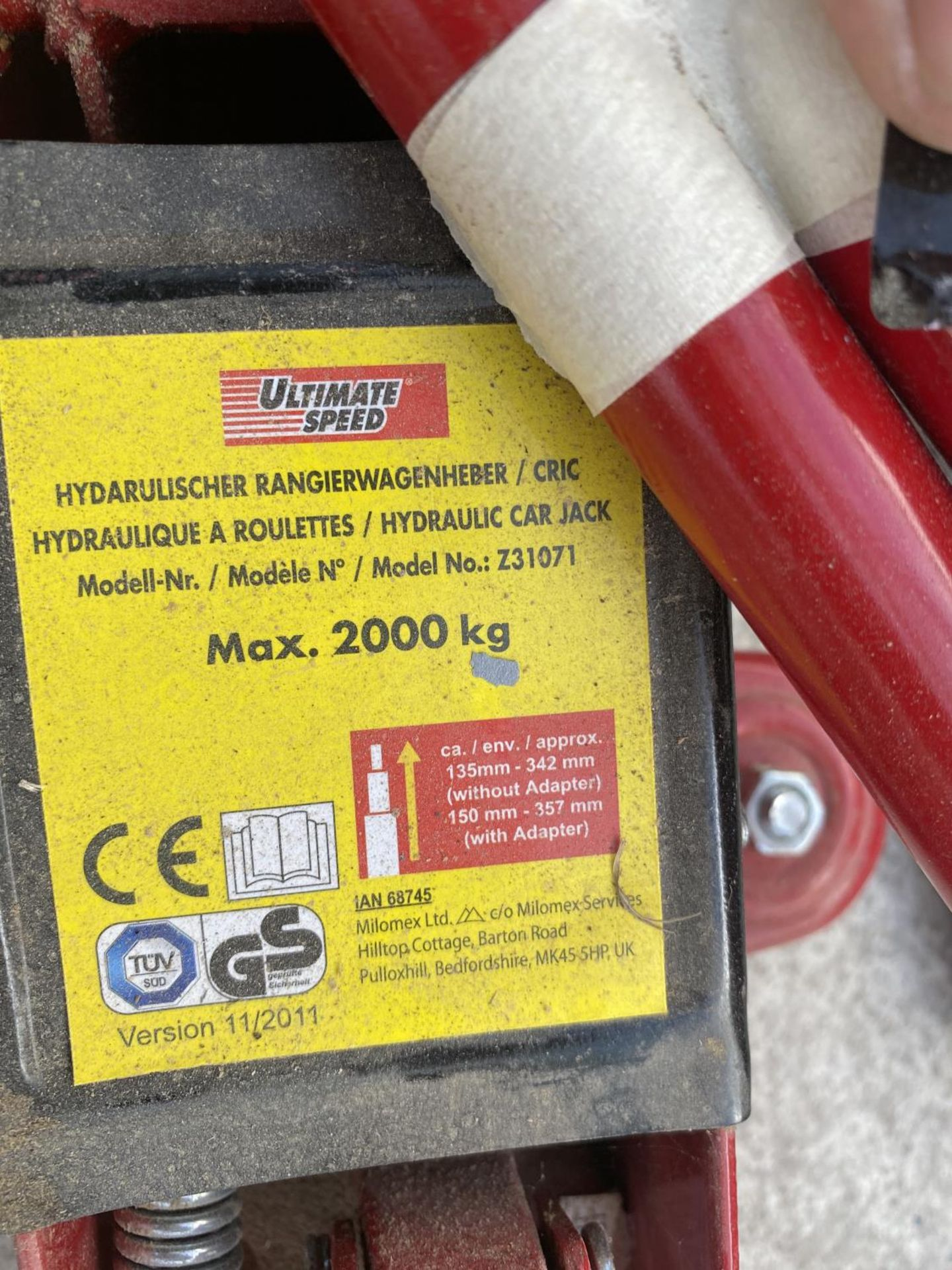 TWO TROLLEY JACKS ONE 2000KG AND ONE 3000LB CAPACITY NO VAT - Image 4 of 5