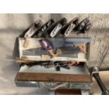 A JOINERS TOOL CHEST WITH CONTENTS TO INCLUDE STANLEY AND RECORD PLANES SAWS, CHISELS ETC NO VAT