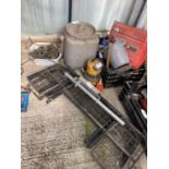 A CAMERON DELUXE PRESSURE TANK, THREE BOXES CONTAINING CHAINS, TOOLS, TANKS ETC, MESH GUARDS AND A